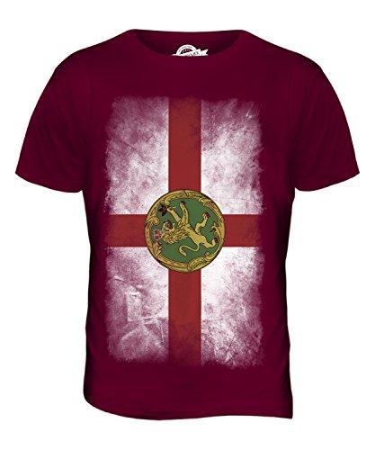 CandyMix Alderney Verblichen Flagge Herren T Shirt Burgunderrot
