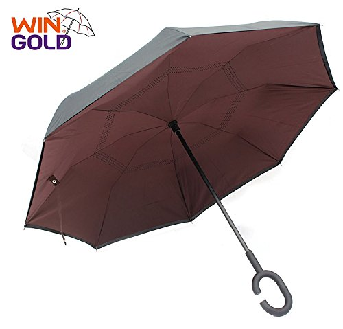 wingold Regenschirm Groß 106 cm Automatik Reise Golf Regenschirm mit Windfang und Robust Sturm Geschützt Durch Doppelkappe mit Windfang für 2 Personen - Braun