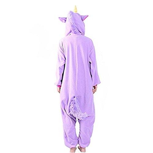 Kenmont Jumpsuit Tier Cartoon Einhorn Pyjama Overall Kostüm Sleepsuit Cosplay Animal Sleepwear für Kinder / Erwachsene Lila