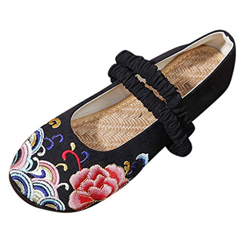 eit Ethnischen Stil Flache Schuhe Einzelne Schuhe Slip On Literarisch Baumwolle und Leinen Flacher Mund Bestickte Schuhe Atmungsaktive Kostüm Hanfu Schuhe ()