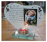 Ihr Lächeln - inspirierendes Gedicht, Kerze und Fotohalter Glas-Gedenktafel