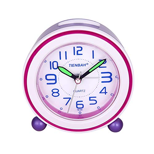 SOCICO Niños Despertadores,Despertadores Despertadores Analógicos para Niños Despertador Silencioso con Manos Luminosas Luz Nocturna para Niños Niñas y Bebés (Púrpura)