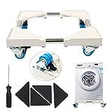 YaeTek - Base multifuncional móvil con 4 ruedas giratorias dobles para lavadora, secadora y nevera con freno