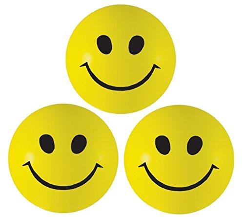 Stressball 3 x Gelbe – Smiley Stress Ball - Antistressball ,Stressballs, Knautschball – Kleiner Ball, Grosse Stresserleichterung und Autismus