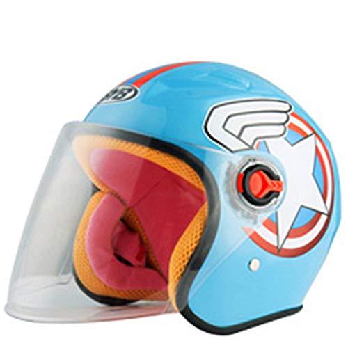 ZJRA Motorradhelm für Kinder, Kindermotorradhelm, Leichter Cartoon-Schutzhelm für 3-8 Jahre, Kinder 46-52Cm, Pink