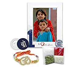 100yellow OM Rakhi & Best Brother Printed Photo Frame for Wall Hanging - Raksha Bandhan Combo Gifts for Brother