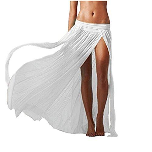 Hosaire Femme Longue Jupes sans Manches pour Sexy Bohème Longue Robe pour Plage-Blanc