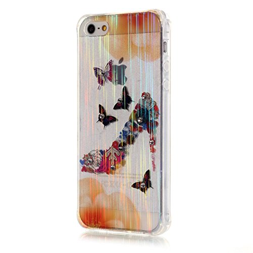 iPhone SE Hülle Case,iPhone 5S Hülle Case,Gift_Source [Meteor] [Satin Finish] [Drop Protection] Luxury Brushed Satin design Flexible Silicone Soft TPU Transparent mit Dust Plugs Hülle Case für iPhone  E01-03-Butterfly heels