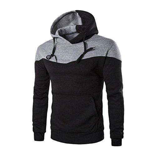 Herren Sweatshirt Pullover Pulli Sweats Langarmshirt Von Bovake Männer Winter Slim Hoodie Warm Kapuzen Sweatshirt Mantel Jacke Outwear Pullover (L, Black)