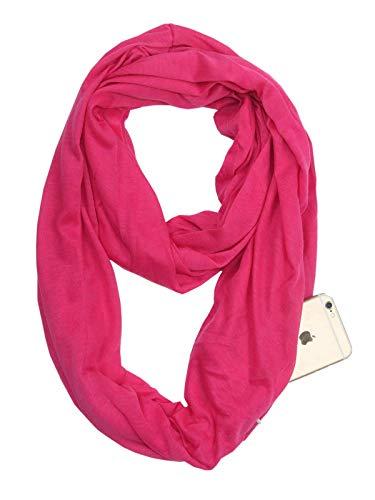 Century Star Damen winter herbst unendlichkeit taschen-schal mode stretchy schale mit reißverschluss-tasche für reisen 08 einheitsgröße rose rot (Damen Winter Unendlichkeit Schal)