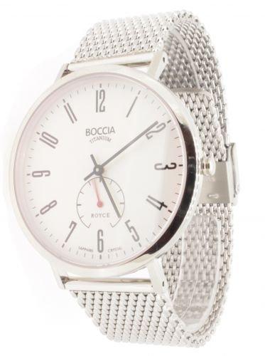 Boccia Herren-Armbanduhr Analog Quarz Edelstahl weiß (silber/weiß), 3592-03