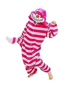 Samgu-Cheshire Cat animal Pyjama Cospaly Party Fleece Costume Deguisement Adulte Unisexe (S(hauteur:150-160cm))