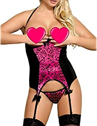 8aa23bdb12 MarysGift Women Ladies Suspender Belt Teddy Bodysuit Sexy Lingerie Sets  Leotard Teddies Pole Dance Plus Size