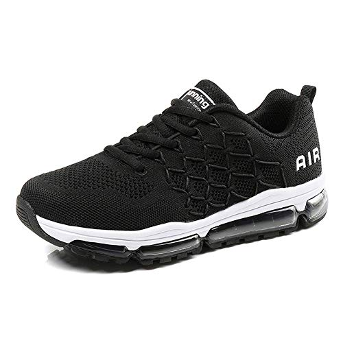Uomo Donna Air Scarpe da Ginnastica Corsa Sportive Fitness Running Sneakers Basse Interior Casual all'Aperto 1643 Black 46