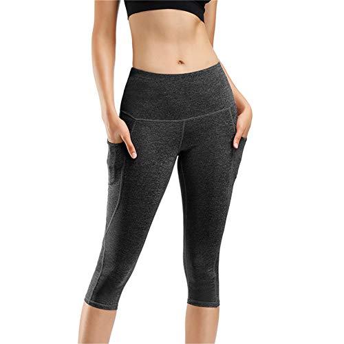 IceUnicorn Damen Sport Leggins Hohe Taille Tights 3/4 Yogahose Blickdichte Kurz Laufhos Fitness Hosen Jogginghose mit Taschen Short(3/4 Hanf G/Schwarz, M) -