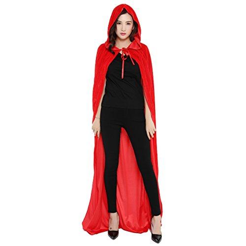 (homedecoam Halloween Umhang Cape mit Kapuze Karneval Fasching Kostüm Unisex Rot)