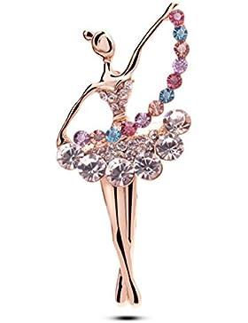 Frau Alloy Brosche Strass Kristall Koreanisch Ballett-Mädchen Elegant Galvanisieren Bankett Kleid Zubehör