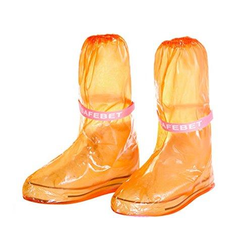 QHGstore 1 Paar Frauen wasserdichte Schuhe Abdeckung Regen Antirutsch PVC Boot Überschuhe Rosa Grundlage orange L