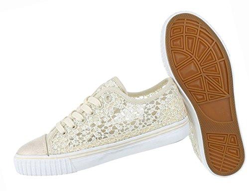 Damen Schuhe Freizeitschuhe Sneakers Turnschuhe Schnürer Schwarz Beige