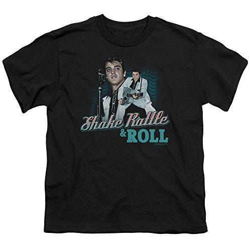 Shake Rattle & Elvis-Roll-Maglietta per ragazzi, colore: nero Nero  nero