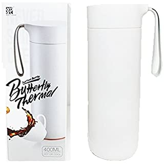 Artiart Butterfly Double Walled Thermal Bottle with Lid 400ml, Hot and Cool, Strong Stainless Steel/Plastic Suction Cup, Never Fall Over Travel Mug, BPA-Free - White