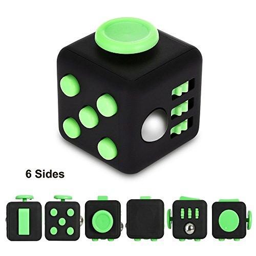 Zindoo Fidget Cube (Con 6 Funzioni) Dadi Di Stress Agitarsi Cube , Allevia Lo Stress E L'ansia, Giocattoli Articoli Da Regalo Per Bambini e Adulti E la Noia Tutto A Portata Di Mano Suggerimenti Per Il Lavoro, Class, Casa (Blu e Bianco).
