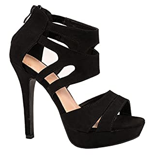 Kayla Damen Pumps | Moderne Cut Out Stilettos | Wildlederoptik High Heels | chunkyrayan LL85-Schwarz-37