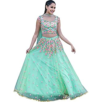 Stylevilla Collection Women's Silk Embroidered Semi-stitched Lehenga Choli (Sky Blue, Free Size)