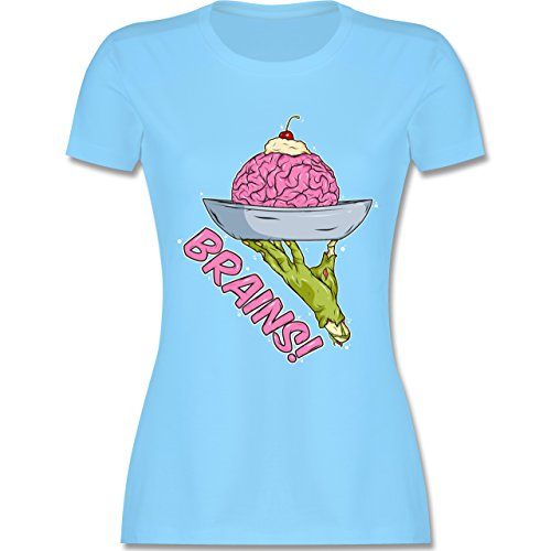 Shirtracer Halloween - Brains! - Zombies Halloween - Damen T-Shirt Rundhals Hellblau