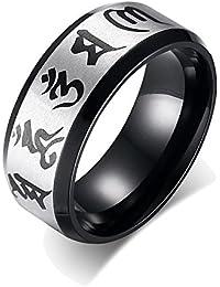 UM Joyería Hombres Mujer Acero inoxidable Budista Seis Cierto Sílaba Mantra anillos Negro 8mm