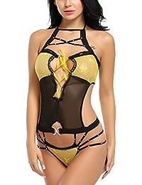 ZEARO Femmes Lingerie Transparent Bikini Babydoll Bretelles Creux Nuisette Sous-vêtements Body