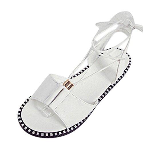 Chaussures Femme Ete Oyedens Mode Bander Plage de sable Casual Sandales tête de poisson Chaussures Femme Peep-Toe des Chaussures Plates Blanc