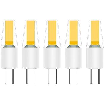 5X G4 LED Bombillas 2W Lámpara Bombillas Blanco Cálido 3000K COB LED Lámpara 200LM Equivalente a Lámparas Halógenas 20W AC/DC12V