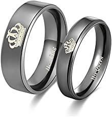 2pcs Moneekar Jewels High Quality Her King His Queen Titanium Stainless Steel Black Wedding Band Set Anniversary Engagement Promise Friendship valentines day Rings for Couples (PLEASE SELECT MEN & WOMEN PAIR SIZE FROM STYLE OPTION AS PER YOUR REQUIREMENT)