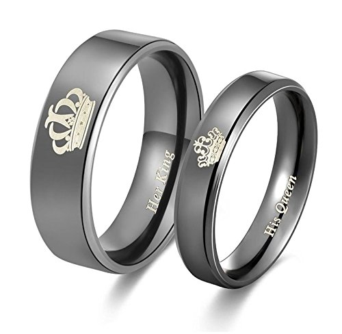 2pcs Moneekar Jewels High Quality Her King His Queen Titanium Stainless Steel...