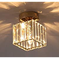 Ganeed Flush Mount Ceiling Light,Modern Semi Crystal Pendant Light,Square Glass Ceiling Lamp for Hallway Entryway Bedroom, Gold