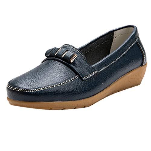 Große Größe Mokassins, Dorical Damen Bootsschuhe Loafers Halbschuhe Casual Fahren Schuhe Kunstleder Slip on Slipper Erbsenschuhe Low-top Schuhe 35-44 EU Reduziert(Dunkelblau,39 EU)