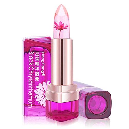 Voberry Rouge à Lèvres Beauté Brillant Fleur Cristal Gelée Rouge à lèvres la magie Changement de température Couleur Maquillage pour les lèvres (C)