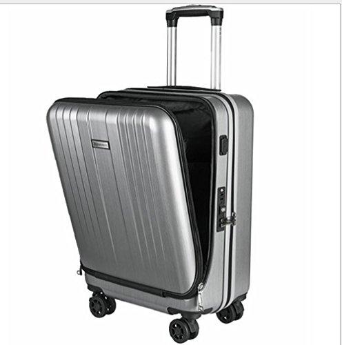 PINCHU Trolley Business Laptop Bag Carrito con ruedas tamaño computadora bolso Maletín Carry On Roller Cases, silver