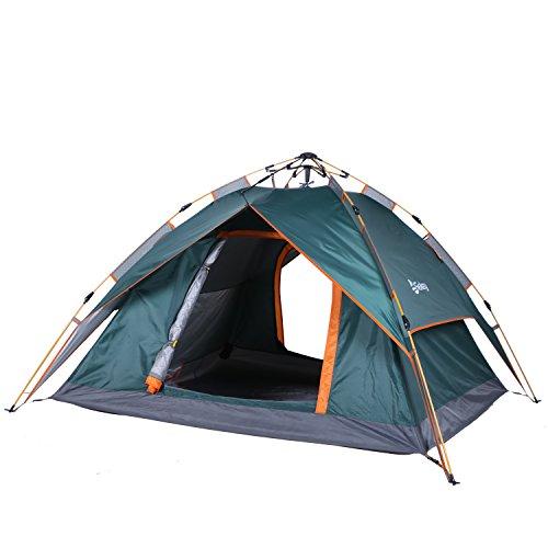 Sekey Automatik Camping Zelt Hydraulik | Wasserdichtes Außenzelt faltbar | DREI-Jahreszeiten-Familien-Dome-Zelt Instant Pop Up Zelt für 3-4 Person mit Tragetasche, 230 * 200 * 140cm, Army grün