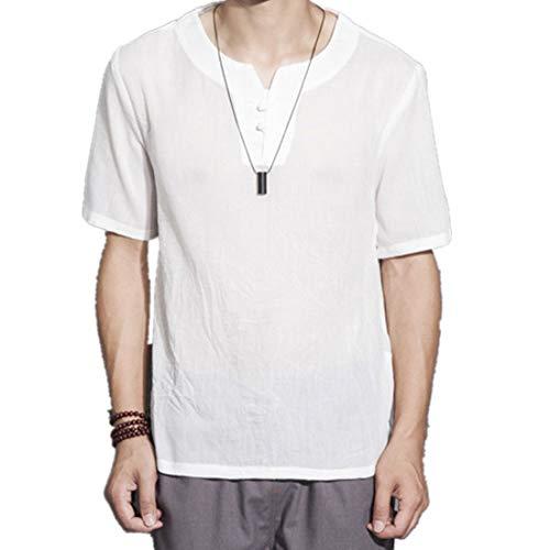 Leinenhemd Shirt PPangUDing Herren Hemd Henley T-Shirt V-Ausschnitt Butom Down Freizeithemd Männer Kurzarm Baumwolle T-Shirts Strand Hemden (5XL, Weiß) Rosa Down-weste