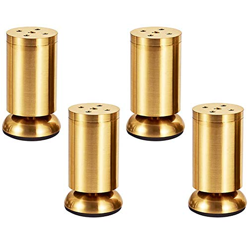 table legs Tischbeine 4 Packungen Gold Möbelfüße Zinklegierung Metall Stützbein Mit Gummimatte Rutschfest Schrankbeine einstellbar Sofa Fuß Bett Schrank Anti-Rost -