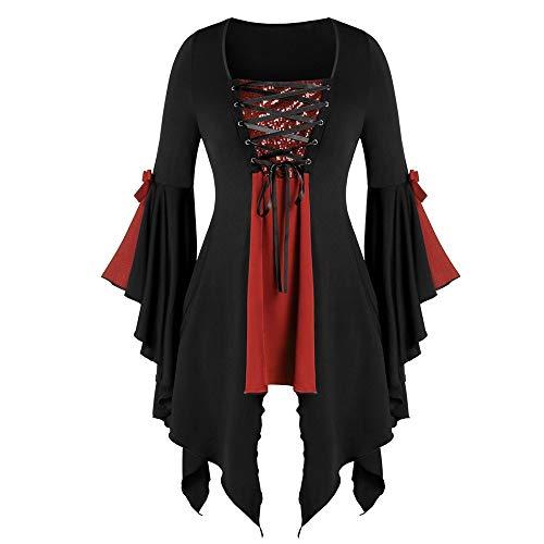 Aiserkly Damen Plus Size Gothic Tunika T Langarmshirts Pailletten Schnürbluse Hexenkostüm Cosplay Karneval Fasching Bluse Mittelalter T-Shirt Kleid Rot 2XL (Einfach Maleficent' Kostüm)