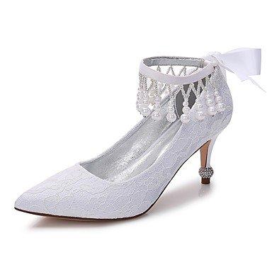 Wuyulunbi@ Scarpe donna raso Pizzo Primavera Estate Comfort scarpe matrimonio Punta Bowknot di strass imitazione di perla perla scintillante glitter per Noi6.5-7 / EU37 / UK4,5-5 / CN37
