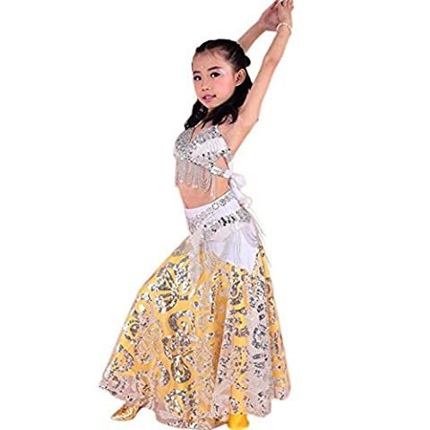Wgwioo Princesse Belly Dance jupe Girl India Diamond Sequins Hand-made Tulle Broderie multicolore Children Party Modern Professional Performance Costume de vêtements h 3