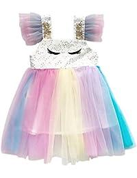 K-Youth Vestidos Niña Kawaii Lentejuelas Arcoiris Tul Ropa Bebe Niña Recien Nacida Tutú Vestido Bebe Niña Bautizo Ropa de Niñas Princesa Sin Mangas Vestido para Chica Fiesta