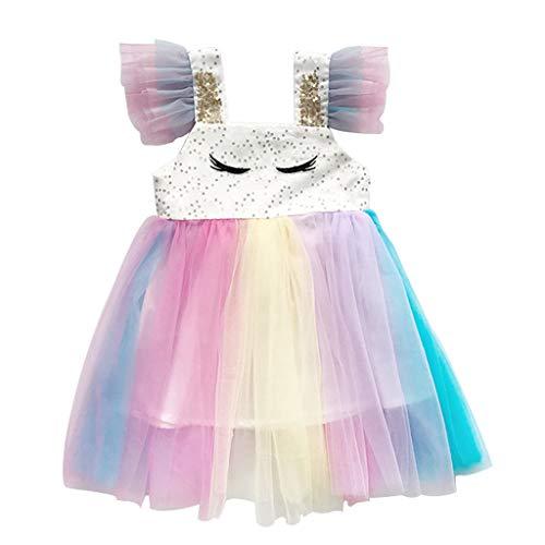 squarex  Sommer Mädchen ärmelloses Kleid Kleinkind Stickerei Tüll Rock Kinder Regenbogen Prinzessin Kleid Baby Casual Rock Bequeme Kleidung (Junioren Weißen Socken)