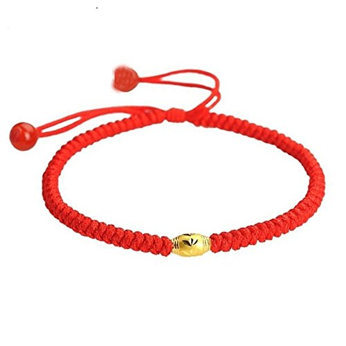 F-Sport Handmade Unisex Red String Bracelet with Lucky Gold Beads- Good for Wealth and Love One Size Fits Most Adjustable Fashion Bracelet for You Women Bracelet Men Bracelet