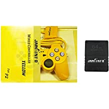 Jain Info Branded PS2 Wired Controller with 64-MB Memory Card- Compatible with PS2 Console(Not Suitable for Mobile/PC/Laptop/TV or Any Other)(Yellow)