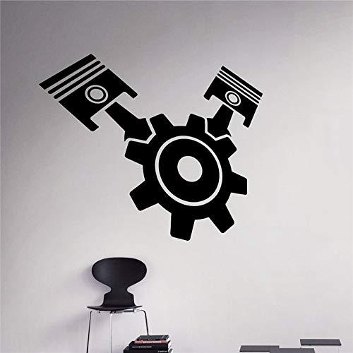 58 x 48 cm Zahnrad Kolben Wandaufkleber Motor Motor Vinyl Aufkleber Home Interior Garage Decor Abnehmbare Decor Wandkunst Aufkleber